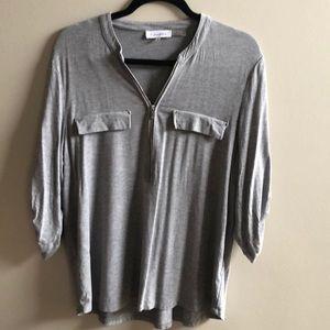 Calvin Klein gray three-quarter sleeve shirt